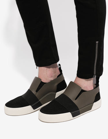 Balenciaga Black & Olive Panelled Low Trainers