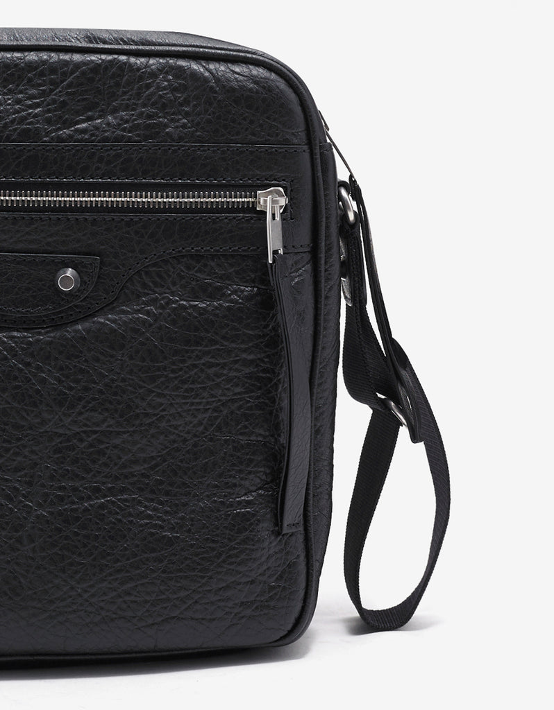 Black Arena Leather Reporter Bag
