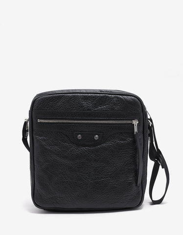Balenciaga Black Arena Leather Reporter Bag