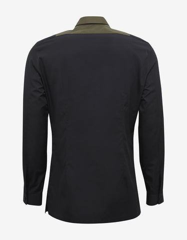 Black Shirt with Khaki Bib Panel
