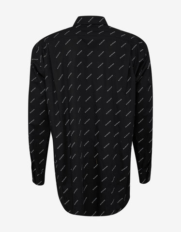 Balenciaga Black Shirt with White Logo Print