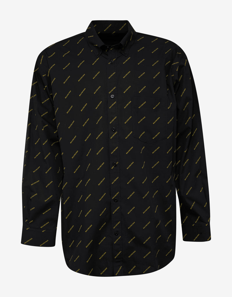 Black Shirt with Yellow Logo Print