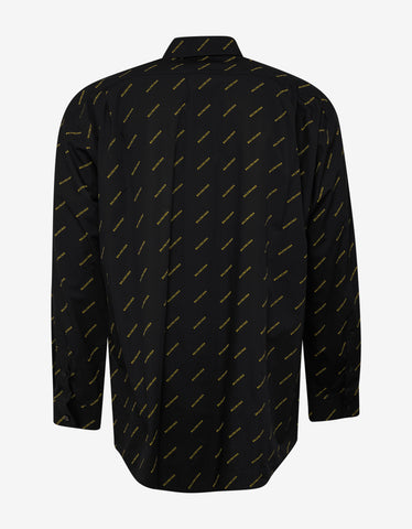 Balenciaga Black Shirt with Yellow Logo Print