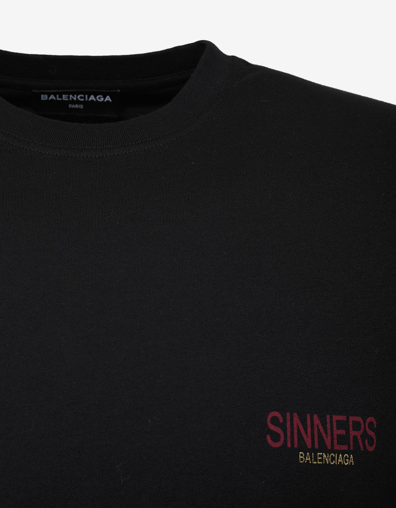 Black Sinners Print Oversized T-Shirt