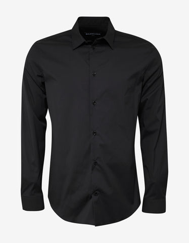 Black Contemporary Fit Shirt with Stars & Band