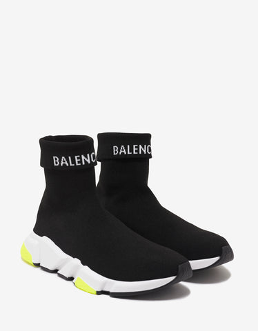 Balenciaga Black, White & Yellow Speed Trainers -