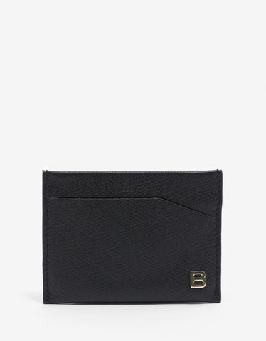 Balenciaga Black 'B' Badge Grain Leather Card Holder