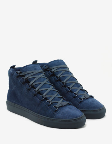 Balenciaga Bleu Marine Suede Leather High Top Trainers
