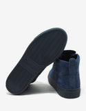 Bleu Marine Suede Leather High Top Trainers