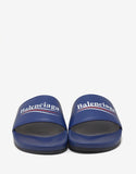 Blue Leather Election Logo Slide Sandals