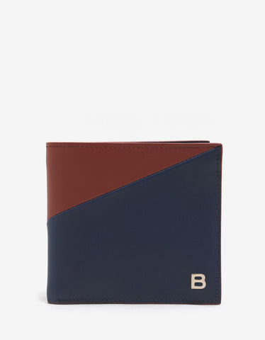 Balenciaga Blue & Red Leather Billfold Wallet
