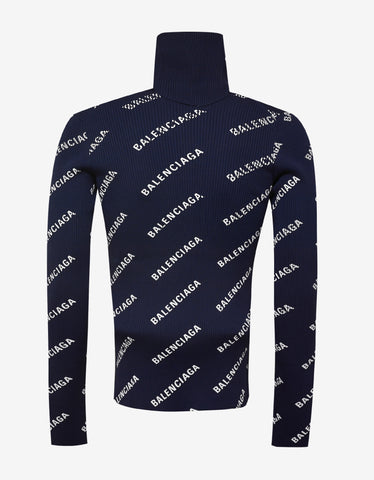 Balenciaga Blue All-over Logo Roll Neck Sweater