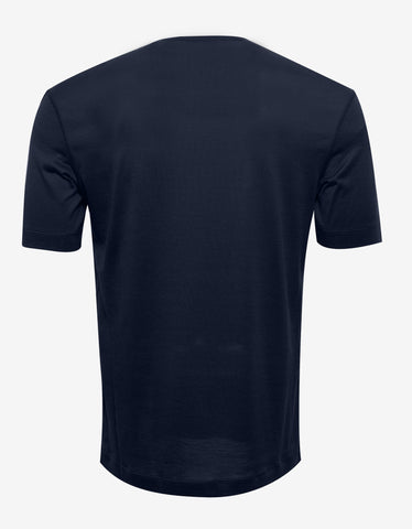 Balenciaga Navy Blue Silk Blend T-Shirt