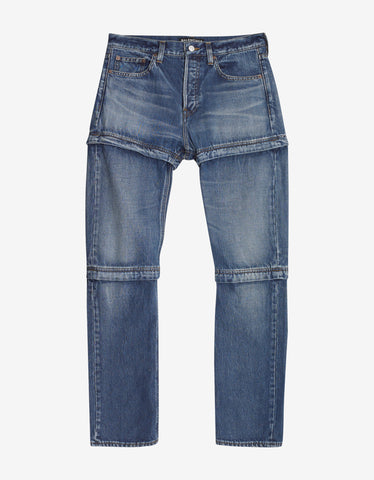 Balenciaga Blue Zipped Jeans