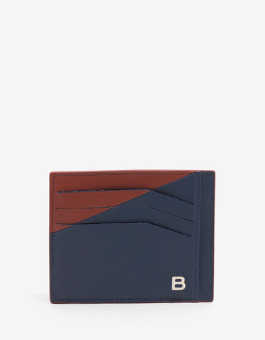 Balenciaga Blue & Red Leather Card Holder