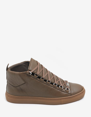 Balenciaga Marron Bois Arena Leather High Top Trainers