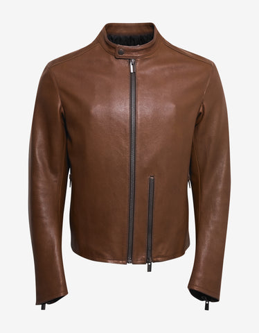 Balenciaga Brown Grain Leather Blouson