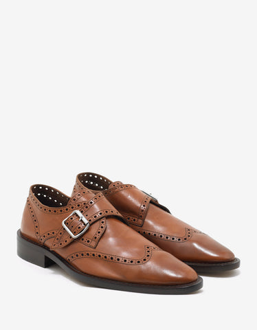 Balenciaga Marron Caramel Buckled Leather Brogues