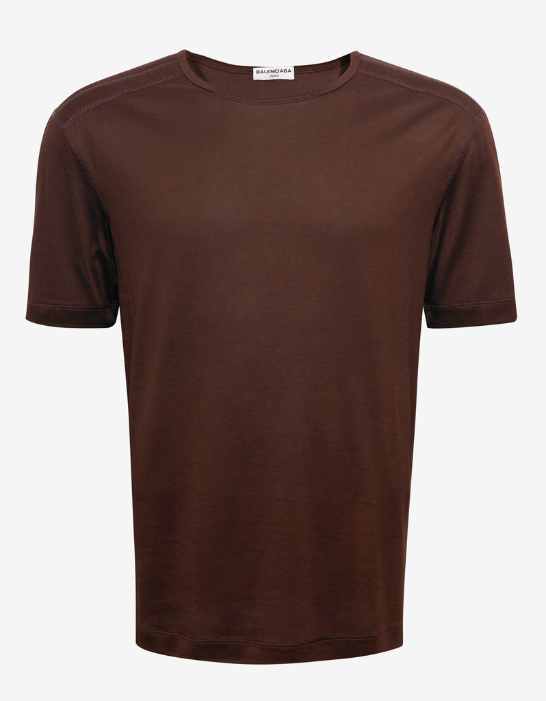 Brown Silk Blend T-Shirt