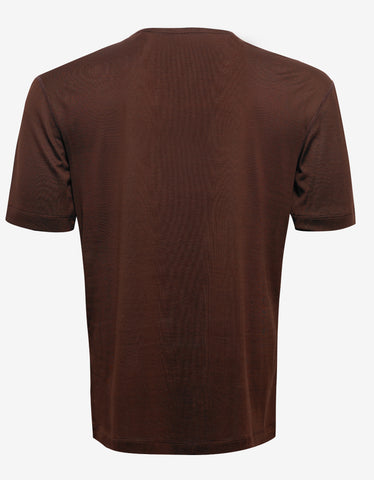 Balenciaga Brown Silk Blend T-Shirt