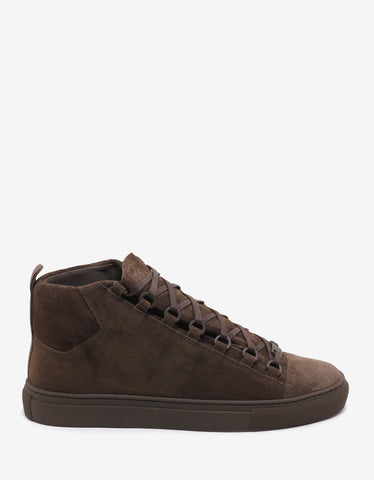 Balenciaga Marron Chocolat Suede Leather High Top Trainers