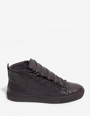 Balenciaga Brun Fonce Grain Leather High Top Trainers