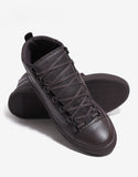 Brun Fonce Grain Leather High Top Trainers