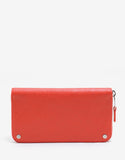 Vermilion Red Arena Leather Zip Wallet