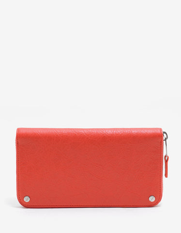 Balenciaga Vermilion Red Arena Leather Zip Wallet