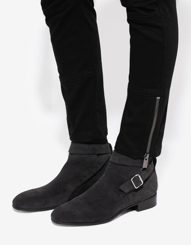 Balenciaga Dark Grey Suede Leather Boots