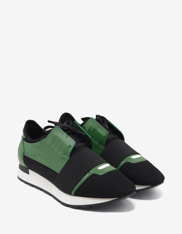 Balenciaga Green & Black Patent Panelled Race Runners