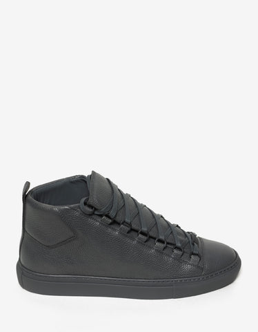 Balenciaga Grey Grain Leather High Top Trainers