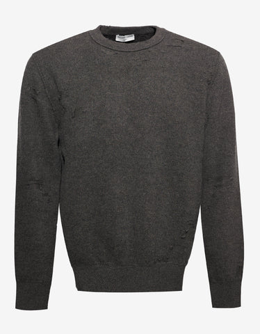 Balenciaga Khaki Wool Blend Distressed Sweater