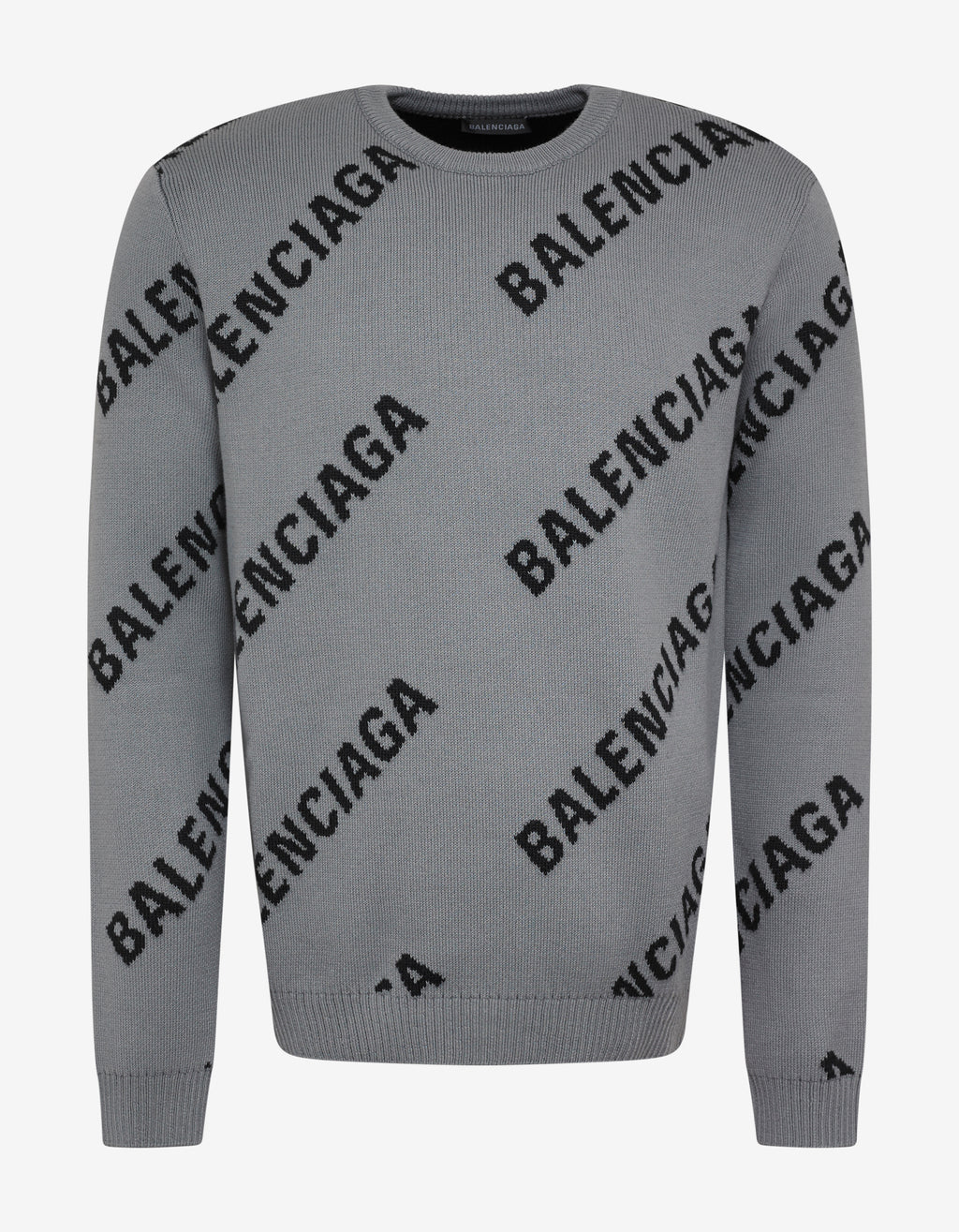 Grey Logo Jacquard Crew Neck Sweater