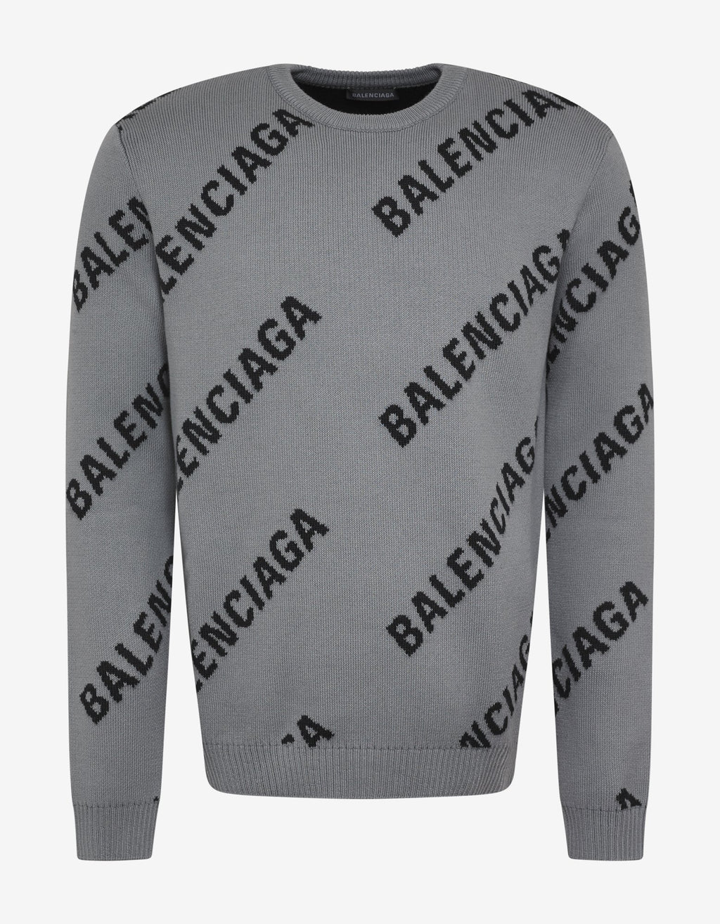 Grey Logo Jacquard Crew Neck Sweater -