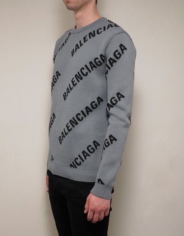 Balenciaga Grey Logo Jacquard Crew Neck Sweater