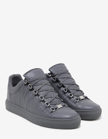 Balenciaga Gris Elephant Arena Leather Low Trainers