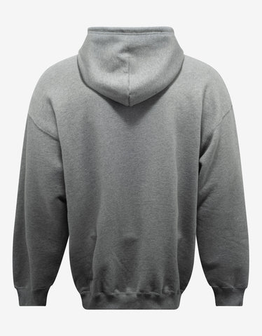 Balenciaga Heather Grey BB Logo Print Hoodie