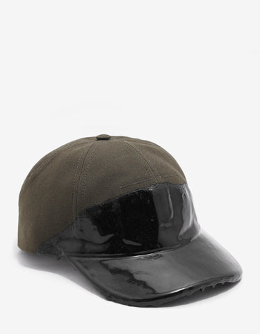 Balenciaga Khaki Cap with Coated Panel