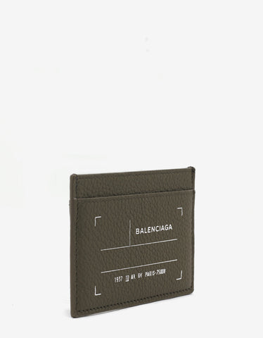 Balenciaga Khaki Grain Leather Card Holder