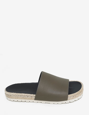 Balenciaga Khaki Leather Espadrille Sandals