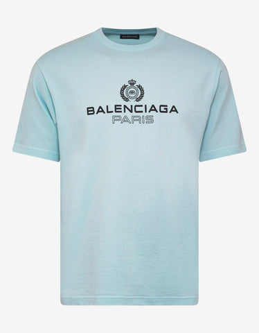 Balenciaga Light Blue Logo Print T-Shirt