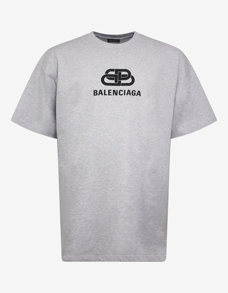 Light Grey BB Logo Print Oversized T-Shirt