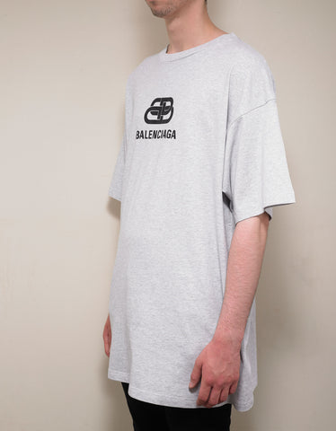 Balenciaga Light Grey BB Logo Print Oversized T-Shirt