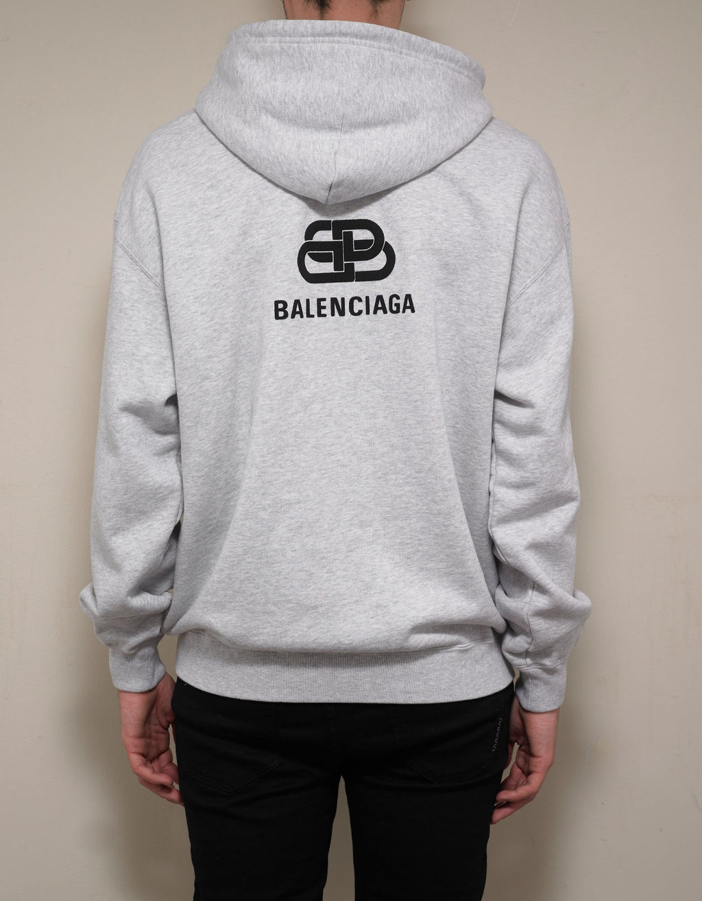 Light Grey Back BB Logo Print Hoodie -