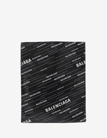 Balenciaga Black All-Over Logo Supermarket Shopper