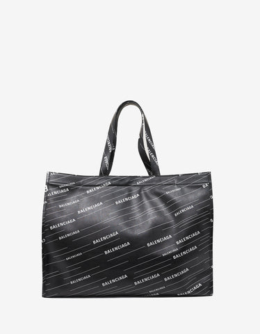 Balenciaga Black All-Over Logo Shopper Bag