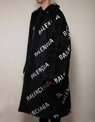 Balenciaga Logo Oversized Faux Fur Coat