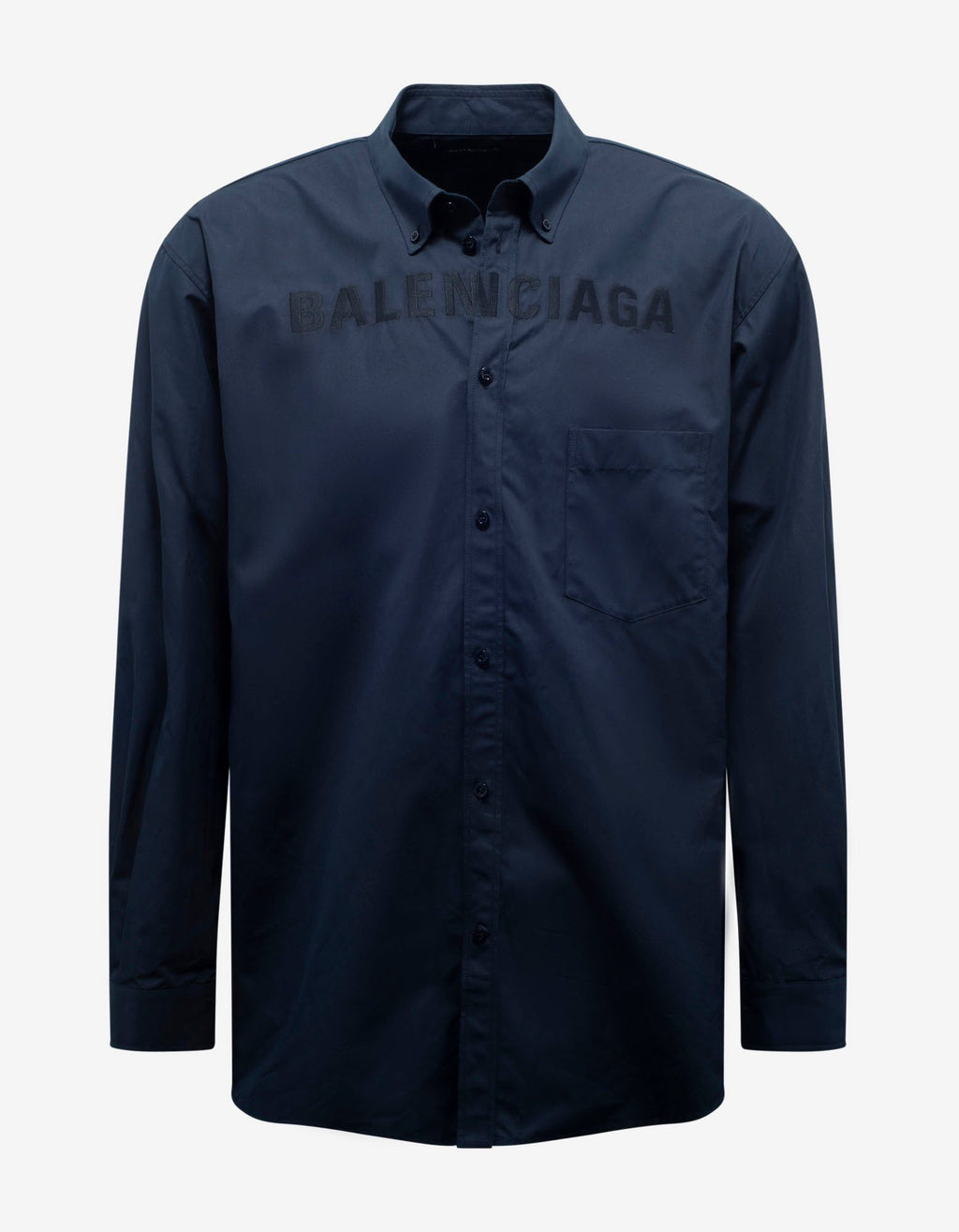 Navy Blue Logo Embroidery Oversized Shirt -