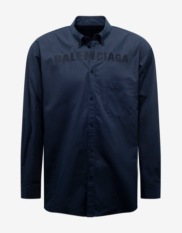 Navy Blue Logo Embroidery Oversized Shirt